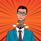 Estale Art Stressed Businessman com cabeça da explosão e mecanismo quebrado Imagens de Stock