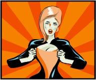 Estale a mulher 'sexy' do livro de Art Comic sob a tampa, estilo da banda desenhada ilustração do vetor