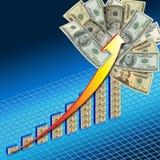 Estallar el gráfico del dinero Imágenes de archivo libres de regalías