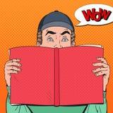 Estallido Art Amazed Man Holding Book Concepto educativo stock de ilustración