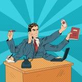 Estallido Art Banner del superhombre del negocio Imagen de archivo libre de regalías