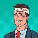 Estallido Art Beaten Positive Businessman El hombre contusionó herido ilustración del vector