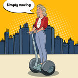 Estallido Art Beautiful Woman Driving Segway en la ciudad Transporte urbano stock de ilustración