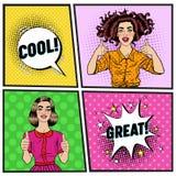 Estallido Art Beautiful Woman Showing Thump para arriba Muchacha alegre del adolescente Cartel del vintage con la burbuja cómica  Imagenes de archivo