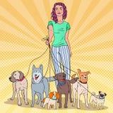 Estallido Art Beautiful Woman Walking con muchos perros de diversas razas libre illustration