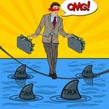 Estallido Art Business Man Walking en la cuerda con la cartera de dos dineros sobre el mar con los tiburones libre illustration