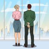 Estallido Art Business People Looking en la ciudad a través de la ventana en oficina ilustración del vector