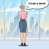 Estallido Art Business Woman Looking en la ciudad a través de la ventana en oficina ilustración del vector