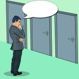 Estallido Art Businessman Choosing la puerta a la derecha libre illustration
