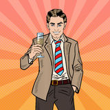 Estallido Art Businessman con Champagne Glass en partido de la celebración del día de fiesta Imagenes de archivo