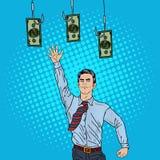 Estallido Art Businessman Jumping para el dinero en los ganchos de pesca stock de ilustración
