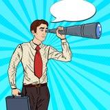 Estallido Art Businessman Looking en catalejo libre illustration