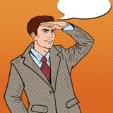 Estallido Art Businessman Looking para el éxito stock de ilustración