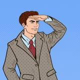 Estallido Art Businessman Looking para el éxito ilustración del vector