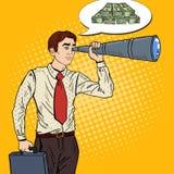 Estallido Art Businessman Looking para el dinero en catalejo ilustración del vector