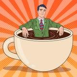 Estallido Art Businessman Relaxing en taza de café libre illustration