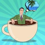 Estallido Art Businessman Relaxing en taza de café ilustración del vector