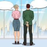Estallido Art Businessman Talking con la mujer de negocios