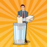 Estallido Art Businessman Utilises Paper Documents en trituradora stock de ilustración