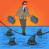Estallido Art Businessman Walking en la cuerda con la cartera sobre el mar con los tiburones Riesgo de inversión