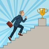 Estallido Art Businessman Walking Up Stairs a la taza de oro stock de ilustración