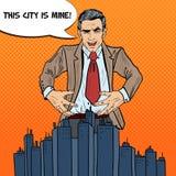 Estallido Art Businessman Wants para agarrar la ciudad stock de ilustración