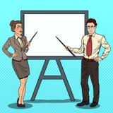 Estallido Art Businessman y mujer de negocios con el palillo del indicador y el tablero blanco ilustración del vector