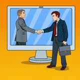 Estallido Art Businessmen Shake Hands Through la pantalla de ordenador Contrato del negocio ilustración del vector