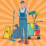 Estallido Art Cleaner en uniforme con la fregona Personal de servicio de la limpieza con el equipo stock de ilustración