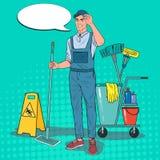 Estallido Art Cleaner en uniforme con la fregona Personal de servicio de la limpieza con el equipo libre illustration