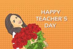 Estallido Art Colorful Retro Style de la tarjeta de felicitación del día de fiesta de Rose Flower Bouquet Teacher Day del control Fotos de archivo libres de regalías
