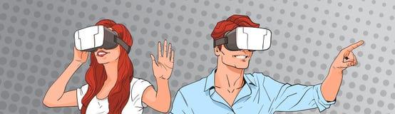 Estallido Art Colorful Retro Style de los vidrios de Digitaces de la realidad virtual del desgaste de la mujer y de hombre Foto de archivo
