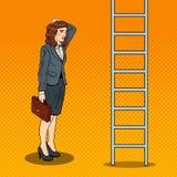 Estallido Art Doubtful Business Woman Looking para arriba en la escalera stock de ilustración
