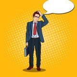 Estallido Art Doubtful Businessman con la cartera stock de ilustración