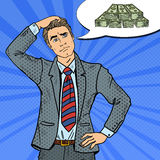 Estallido Art Doubtful Businessman Dreaming sobre el dinero ilustración del vector