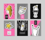 Estallido Art Fashionable Posters Set Banderas de moda de la moda con las insignias y remiendos para los carteles, cubiertas dise ilustración del vector