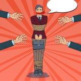 Estallido Art Frustrated Businessman Tied Up con la cuerda Manos de los problemas de negocio ilustración del vector
