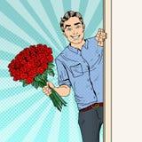 Estallido Art Handsome Man con las rosas del ramo de las flores Foto de archivo