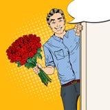 Estallido Art Handsome Man con las rosas del ramo de las flores Fotos de archivo libres de regalías