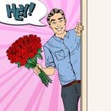 Estallido Art Handsome Man con las rosas del ramo de las flores Fotos de archivo