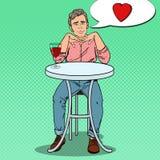 Estallido Art Handsome Man en amor con el vidrio de vino Imagen de archivo libre de regalías