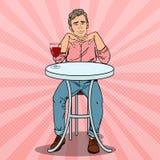 Estallido Art Handsome Man en amor con el vidrio de vino Fotos de archivo