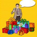 Estallido Art Happy Man con las cajas y Champagne Glass grandes de regalo Fotos de archivo