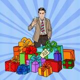 Estallido Art Happy Man con las cajas y Champagne Glass grandes de regalo Imagenes de archivo