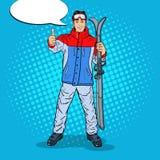 Estallido Art Happy Young Man en Ski Holidays Gesturing Thumb Up ilustración del vector