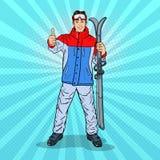 Estallido Art Happy Young Man en Ski Holidays Gesturing Thumb Up stock de ilustración