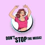 Estallido Art Happy Young Woman Dancing Muchacha emocionada del adolescente Cartel del vintage del club del disco, cartel de la m stock de ilustración