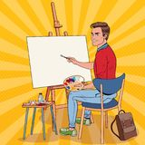 Estallido Art Male Artist Painting en el estudio Pintor del hombre en taller ilustración del vector