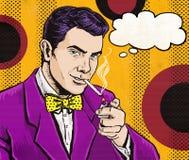 Estallido Art Man del vintage con el cigarrillo y con la burbuja del discurso Invitación del partido Hombre de los tebeos playboy Foto de archivo libre de regalías