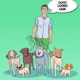 Estallido Art Man Dog Walker Cuidado de animales domésticos Imagen de archivo libre de regalías